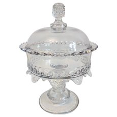 "EAPG Ripley & Co. ""Wyandotte"" Covered Glass Compote"