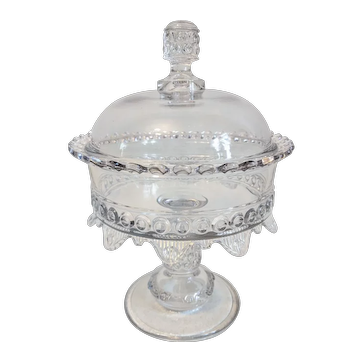 """EAPG Ripley & Co. """"Wyandotte"""" Covered Glass Compote"""