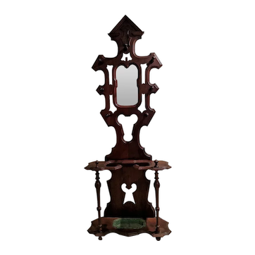Antique Figural Victorian Hall Tree with Mirror