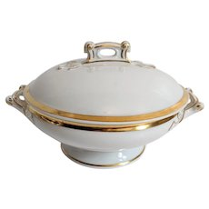 White & Gold Haviland Covered Serving Bowl