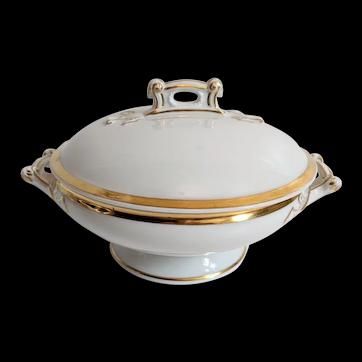 White & Gold Haviland Covered Serving Bowl
