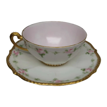 Elite France Cup & Saucer, Signed and dated by the artist, I.D.Sutman 1905, Victorian Style Garlands and Gold
