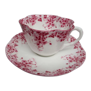 Shelley of England Dainty Pink Teacup and Saucer, 1938-1966