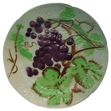 Antique Majolica Vineyard Plate, Faience St Clement Grapes, 1900-1920, France