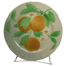 Antique Majolica Faience St Clement Oranges Plate, 1900-1920, France
