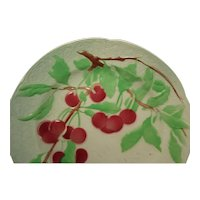 Antique Majolica Faience St Clement Cherries Plate, 1900-1920, France