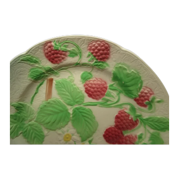 Antique St Clement Majolica Faience Raspberries Plate, 1900-1920, France