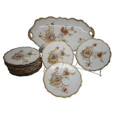 Antique Limoges 11 Piece Ice Cream Set Large Tray