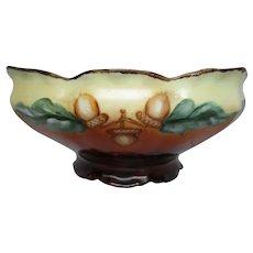 Art Nouveau Hand Painted Acorns Bowl Decor Candy