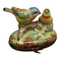 Limoges Hand Painted Trinket Box Chamart Birds