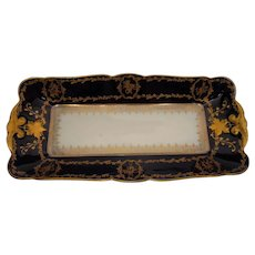 Antique CF Haviland Limoges Cobalt Tray with Gold