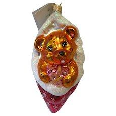 Christopher Radko Bear Stocking Christmas Ornament Boxed NOS