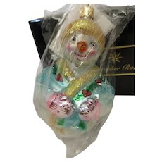 Christopher Radko Snowman Jolly Wrap Junior Christmas Ornament NOS
