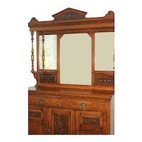 English Antique Victorian Oak Sideboard Buffet, Bar Cabinet