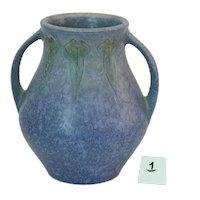 Roseville Pottery Windsor Vintage Blue Bulbous Urn Vase 545-5 Excellent