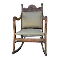 Antique Victorian Mahogany Rocking Chair Northwind Face Carved Lions Griffon, Local Pick Up Only