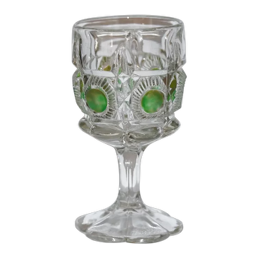 EAPG Wine Goblet Bulls Eye and Daisy or Newport, Green Staining c.1909 Larger 6""