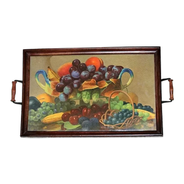 Antique Wood Glass Serving Tray with Basket Of Fruit Design, circa 1920's