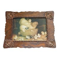 """Antique Victorian Old Hen And Chicks Print In Oak Wood Gesso Frame 17"""" x 13"""""""