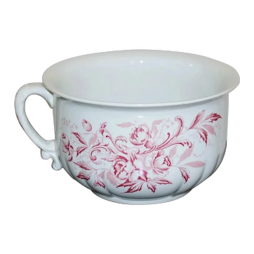 Antique Porcelain Ironstone Red Transferware Chamber Pot by Richelieu England