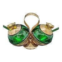 1940s Art Deco Emerald Glo Condiment set