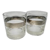 2 Platinum banded rocks glasses decorated with medical symbols
