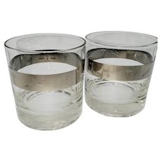 2 Platinum banded rocks glasses decorated with medical symbols