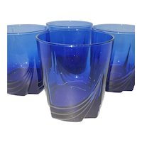 4 Cobalt Blue Arcopal Rocks Glasses