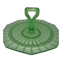 Green Depression Glass Decagon Tid-bit Platter
