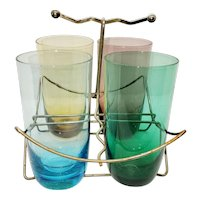 Mid-century highball glasses and carrier