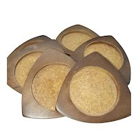Mid-century Wood and Cork Coasters