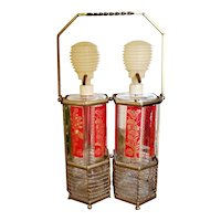 L.E. Smith glass liquor pump decanters and carrier