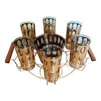 Culver Co. Pisa pattern Tumblers, Ice Bucket, Carrier set