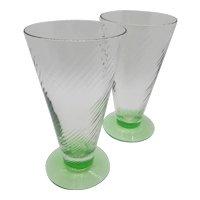 "Uranium ""V"" shaped footed cocktail glasses"