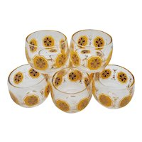 """7 Mid-century mini Roly-poly """"sipping"""" glass"""