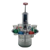 Atomic mid-century rotating  Liquor dispenser and shot glasses