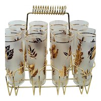 1950s Libbey Gold Foliage Collins glasses (8) and Carrier