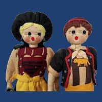 Pair of Vintage German Felt Dolls with Googly Eyes