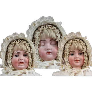 """17"""" Rare German bisque three-faced character doll by Carl Bergner."""