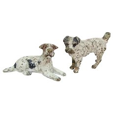 Pair of Fox Terriers, Cold-pressed Vienna Bronzes