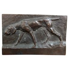 Bronze Antique bas-relief plaque Pointer dog