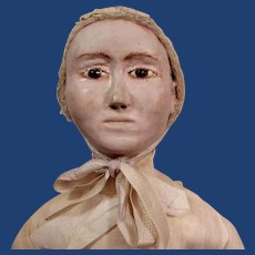 """14"""" Early carved wooden head doll"""