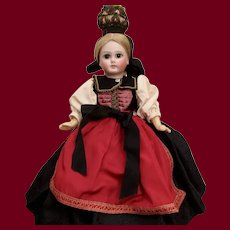 """10""""  Sonneberg Bisque Doll with Rare Body Style and Original Folklore Costume"""