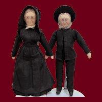 "Pair of 12"" Handmade Cloth Pennsylvania Amish Dolls"