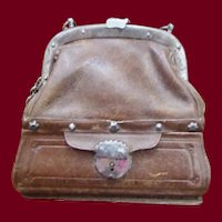 Antique leather Sac de Voyage for a French Fashion or Bebe