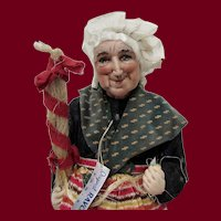 """15"""" French stockinette village woman, Bernard Ravca, Rare candy container doll."""