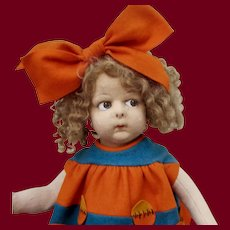 """18"""" Early Character Doll 110 by Lenci, Rare Metal Button"""