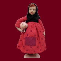 """8"""" Rare Lenci Peasant Girl with Piglet"""