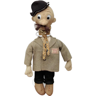"""12"""" Rare English felt cartoon character """"George"""" by Tom Webster for Chad Valley."""