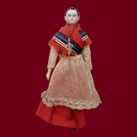 """10.5"""" Brown-haired Parian Cloth Body Doll with Wood Limbs"""